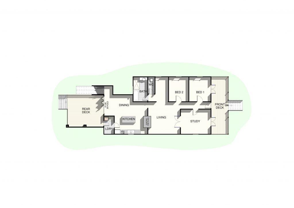 Extension Render Floor Plan Lower Level - Raise My House