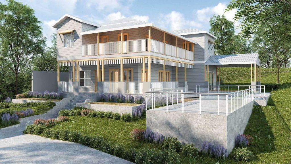 Mt Gravatt House Raise and Build Under render
